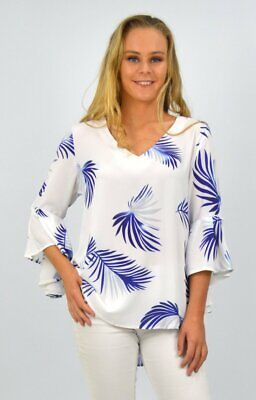 ladies womens Top in White with Blue Palms leaves bell sleeves