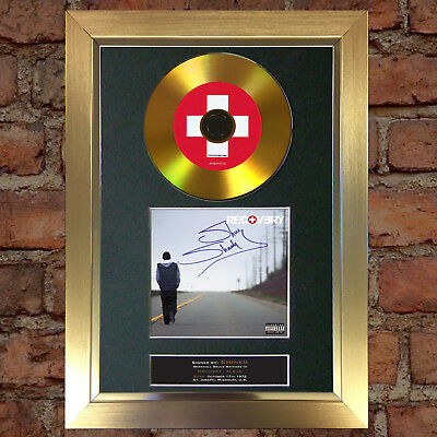 GOLD DISC EMINEM Recovery Signed Autograph CD & Cover Mounted Print A4 113