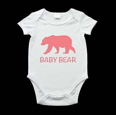 Baby bear baby onezie, cute baby bear romper suit, rosy red bear and text