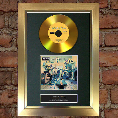GOLD DISC OASIS Definitely Maybe Signed Autograph CD & Cover Mounted Print 114