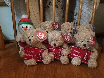 TY Original Beanie Babies 6 Happy Holidays Bears 1 Stockings Snowman Baby XMas