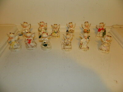 12 Vintage National Pottery Co.12 Angels of the Month Series Angel figurines