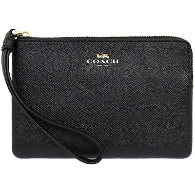 NWT Coach Corner Zip Wristlet In Crossgrain Leather Black F58032 Authentic!!