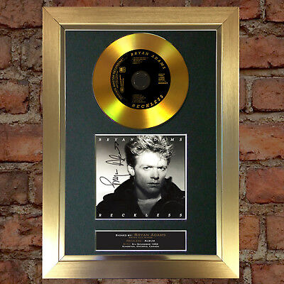 GOLD DISC BRYAN ADAMS Signed Autograph CD & Cover Mounted Print A4 123