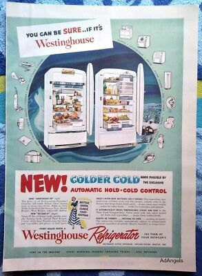 1949 Westinghouse Refrigerator Colder Cold Automatic Hold Control ad