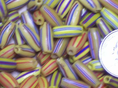 A Lot Of Over 1000 Mixed Colorful Antique African Glass Melon Trade Beads.