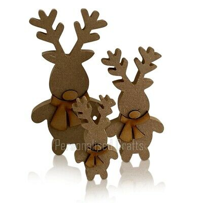 Free Standing Wooden MDF Xmas Standing Reindeer Shape Christmas Crafts