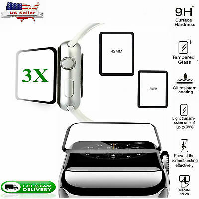 3X 9H Slim Tempered Glass Screen Protector Film For Apple Watch iWatch 3 42mm