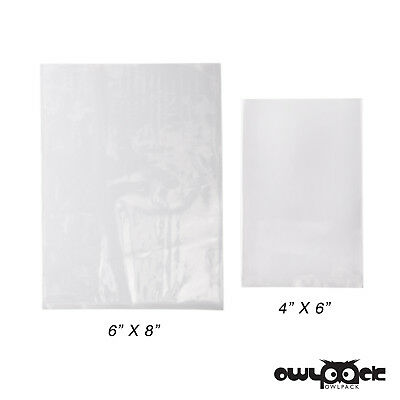Multi Pack 4x6 6x8 1.5 mil Owlpack Poly Open End Plastic Bag - 100 each size