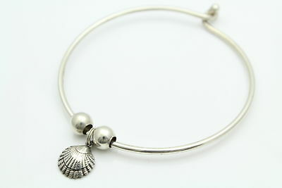 Bangle Bracelet with Round and Seashell Charms in Sterling Silver by REO