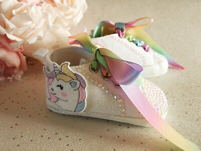 Baby Girls Reborn White Crystal Glitter Unicorn Pram Shoes Boots 0 - 12 months