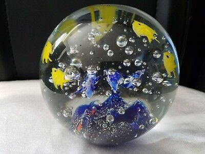"Large Art Glass  Aquarium Paperweight, Blue Base Bubbles  Tropical Fish 4 3/4""H"