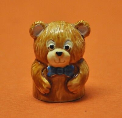 Rare 1984 Spoontiques Teddy Bear Hand Painted Pewter Thimble
