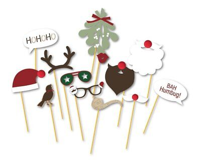 13pcs Christmas Photo Booth Props Kit on a Stick for Party Supplies