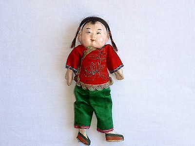 """ANTIQUE CHINESE DOLL Composite Embroidered Silk Clothes Real Hair 8"""" Pre 1915"""