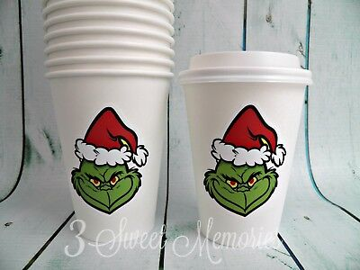 Set of 25- Grinch Paper Coffee Cocoa Cups and Lids 16oz Merry Grinchmas