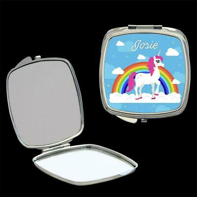 Personalised Mirror Compact with Cute Unicorn, make up mirror