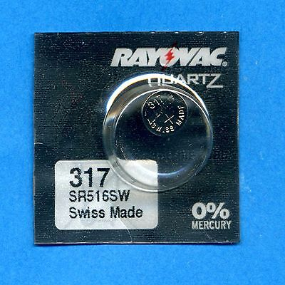 2 x 317 SR516SW SR62 V317 D317 1.55V Silver Oxide Watch Cell Batteries Rayovac