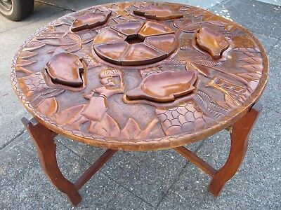 Vintage Haitian Hand Carved Double-Sided Wood Table with Bowls