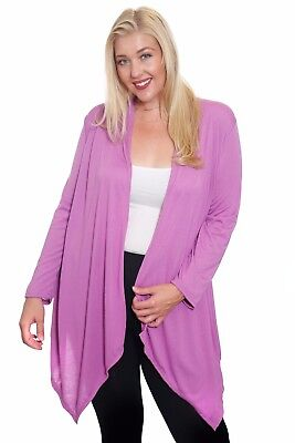 Hot Ginger Women's Plus Size Long Sleeve Waterfall Open Front Cardigan