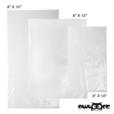 Multi Pack 6x10 8x15 9x12 1.5 mil Owlpack Poly Open End Bag -100 each size