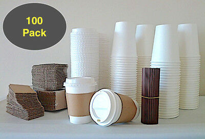Disposable Paper Cups: 12oz with Lids, Sleeves and Stirrers - 100 pack