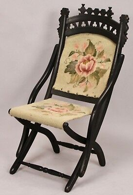 Antique BLACK - Ornate Carved Wood Flower Tapestry Folding Chair