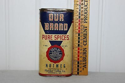 Scarce Antique Our Brand Art Deco Litho Label On Cardboard Metal Ends Spice Tin
