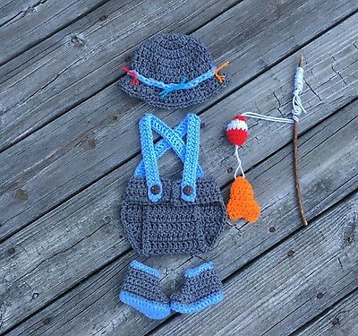 Fisherman Fishing Newborn Baby Handmade Photo Prop Outfit