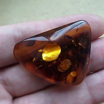 Old Genuine Baltic Stone Amber Brooch Egg Yolk natural vintage 7,2 g. n/r
