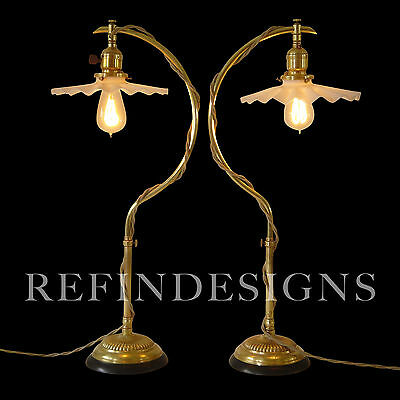 Early Faries Industrial Machine Age Brass Table Lamp Pair 1890 Pre Oc White Era