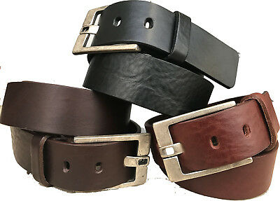 Mens Italian Hide Leather Belt Tan Brown Black Flat Prong Antique  Buckle