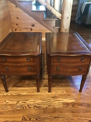 Vintage Pair Mahogany Leather Top Side End Tables 1950s