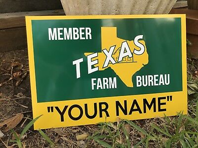 "Antique Vintage Old Texas Farm Bureau John Deere Sign ""YOUR NAME"" Custom Gift!"