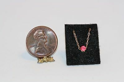 Dollhouse Miniature Pink Pendant on Gold Chain by Multi Minis