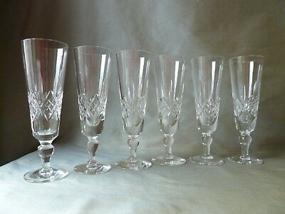 6 Stuart Crystal Glengarry Cambridge Cut Champagne Glasses Flutes, Not Signed