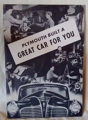 1941 Plymouth 'Built a great car for you' Original Dealer Brochure