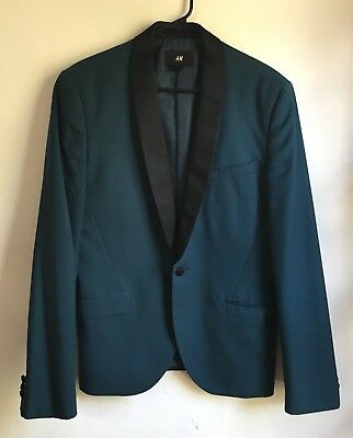 H & M Mens Tuxedo Jacket sz 38R Satin Charmeuse Collar and Buttons Swanky NYE