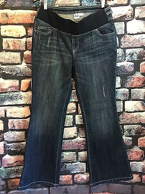 Duo Maternity Women's Under Belly Flare Jeans Size L Med Distressed Denim