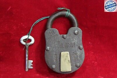 Old Antique Vintage Rare Iron Brass Lock and Key Home Security Collectible BC-88