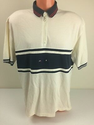 Tommy Hilfiger Mens Sweater Vintage Ivory Pique Colorblock 1/4 Zip Pullover XL