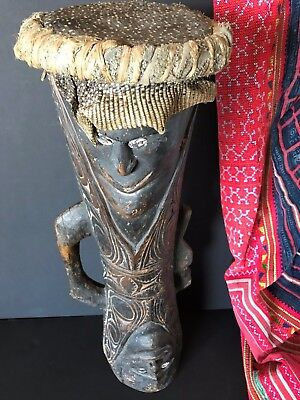 Old Papua New Guinea Sepik River Carved Wooden Kunda Drum beautiful collection.