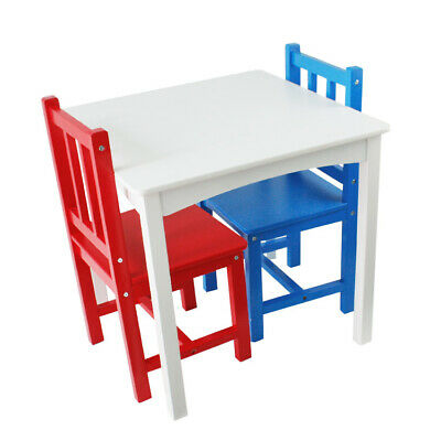 Childrens Table and Chairs Red & Blue Kids Furniture Wooden Toddler Table