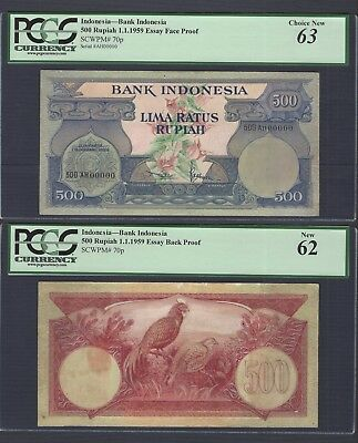 Indonesia Face & Back 500 Rupiah 1-1-1959 P70p Essay Proof Uncirculated