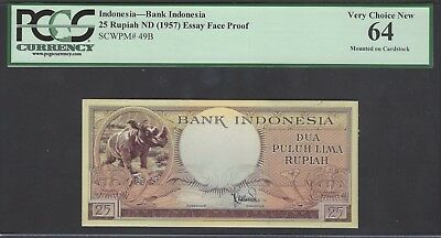 Indonesia Face 25 Rupiah ND(1957) P49B Essay Proof Uncirculated