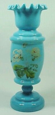 Victorian VASE Robin's Egg Blue Bristol with floral design and ruffled top WOW!