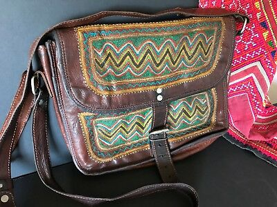 Old Philippines Leather Shoulder Bag with Tribal Designs …beautiful accent piece