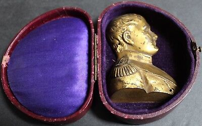 Rare 19th Century Antique Napoleon Bonaparte Boxed Gold On Bronze French Plaque