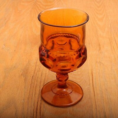 Dark Amber Indiana Glass Company Kings Crown Thumbprint Wine Goblet Vintage