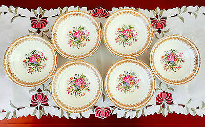 Six Vintage Barratts Of Staffordshire England Dessert Soup Bowls C1950's